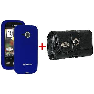 AMZER® Silicone Skin Jelly Case & Leather Pouch Combo - Blue for HTC DROID Eris