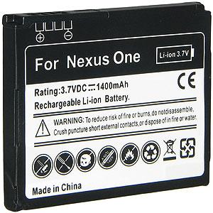 1400 mAh Lithium Ion Standard Battery - Black for Google Nexus One PB99100
