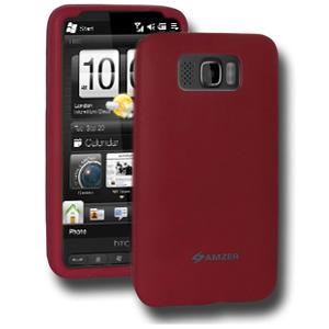 AMZER Silicone Skin Jelly Case for HTC HD2 - Maroon Red