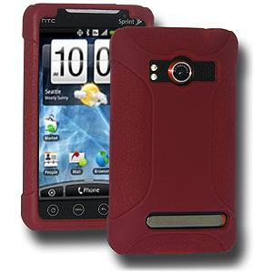AMZER® Silicone Skin Jelly Case - Maroon Red for HTC EVO 4G