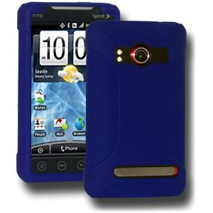 AMZER® Silicone Skin Jelly Case - Blue for HTC EVO 4G