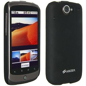 AMZER Simple Click On Case with Screen Protector - Rubberized Black for Google Nexus One PB99100