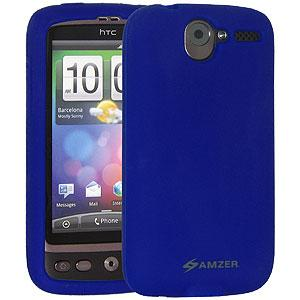AMZER Silicone Skin Jelly Case for HTC Desire - Blue