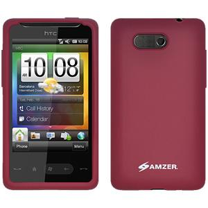 AMZER Silicone Skin Jelly Case for HTC HD Mini - Maroon Red