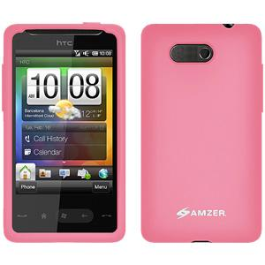 AMZER Rugged Silicone Skin Jelly Case for HTC HD Mini - Baby Pink