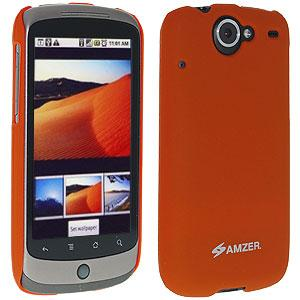 AMZER Simple Click On Case with Screen Protector - Rubberized Orange for Google Nexus One PB99100
