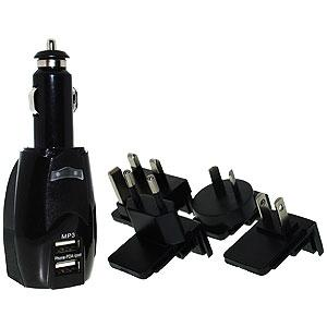 Dual USB Auto Charger with International Wall Adapters