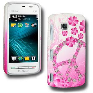 Peace and Love Click On Case - White/ Pink for Nokia Nuron 5230