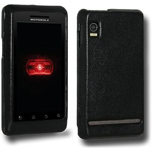 AMZER Leather Snap On Cover - Black for Motorola Droid 2 A955