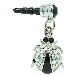 Insect 3.5mm Headphone Jack Crystal Charm - Solid Black