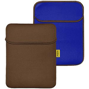 Amzer 10.6 inch Reversible Neoprene Vertical Sleeve with Pocket - Chocolate Brown/Teal Blue