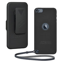 Load image into Gallery viewer, AMZER Shellster Hard Case with Belt Clip Holster for iPod Touch 5th Gen - Black