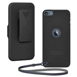 AMZER Shellster Hard Case with Belt Clip Holster for iPod Touch 5th Gen - Black