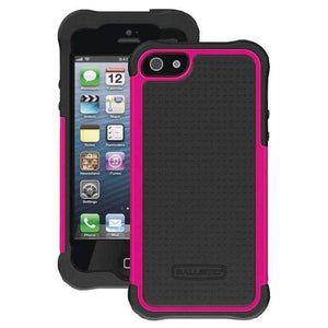 Ballistic Shockproof Dual Layer Hybrid Case for iPhone 5 - Black/Hot Pink - GB