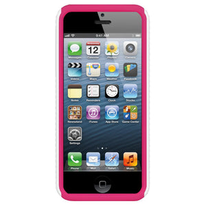 AMZER Zebra Hybrid Case - White PC + Hot Pink Silicone for iPhone 5