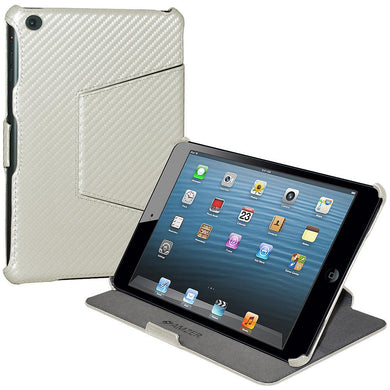 AMZER Shell Portfolio Case - White Carbon Fiber Texture for Apple iPad mini
