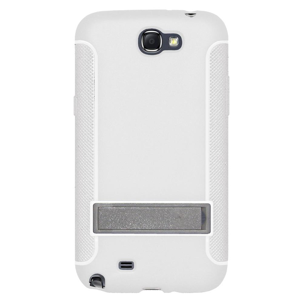 AMZER TPU Skin Case with Kickstand - White for Samsung Galaxy Note II GT-N7100