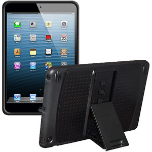 Amzer TPU PolyCarbonate Hybrid Kickstand Case - Black/ Black for Apple iPad mini