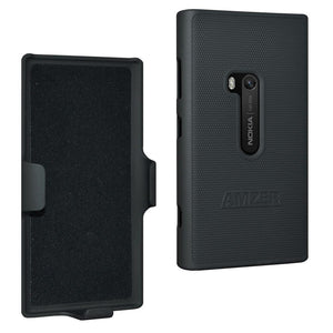 AMZER Shellster Hard Case with Belt Clip Holster for Nokia Lumia 920 - Black