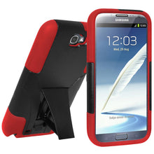 Load image into Gallery viewer, AMZER Double Layer Hybrid Case with Kickstand - Black/ Red for Samsung Galaxy Note II GT-N7100