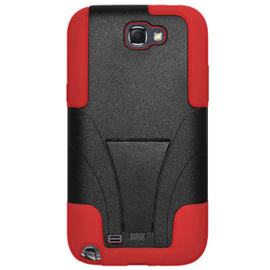 AMZER Double Layer Hybrid Case with Kickstand - Black/ Red for Samsung Galaxy Note II GT-N7100
