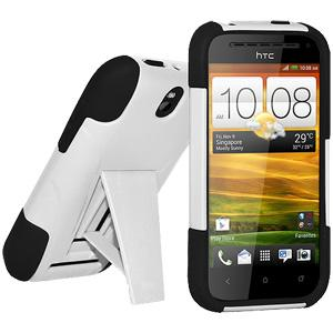 AMZER Double Layer Hybrid Case with Kickstand - Black/ White for HTC One SV