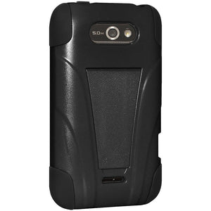 AMZER® Double Layer Hybrid Case with Kickstand - Black/ Black for LG Motion 4G MS770