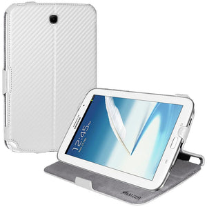 AMZER Shell Portfolio Case - White Carbon Fiber Texture for Samsung GALAXY Note 8.0 GT-N5100