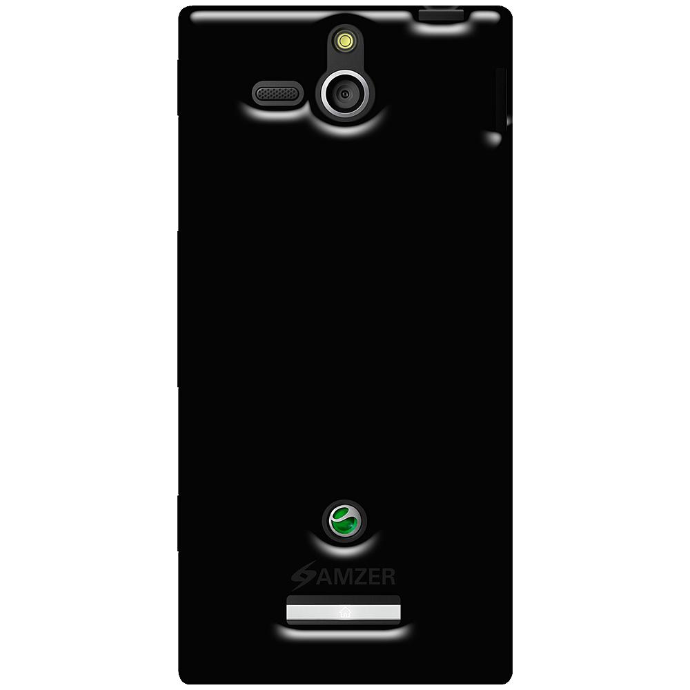 AMZER Soft Gel TPU Gloss Skin Case - Black for Sony Xperia U
