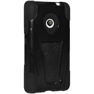 Amzer Double Layer Hybrid Case with Kickstand - Black/ Black for Nokia Lumia 525, Nokia Lumia 521