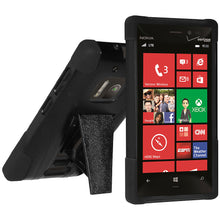 Load image into Gallery viewer, Amzer Double Layer Hybrid Case with Kickstand - Black/ Black for Nokia Lumia 928