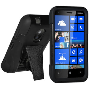 Amzer Double Layer Hybrid Case with Kickstand - Black/ Black for Nokia Lumia 620