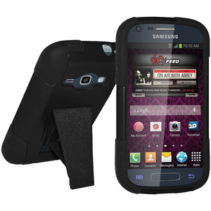 AMZER® Double Layer Hybrid Case with Kickstand - Black/ Black for Samsung Galaxy Prevail II SPH-M840