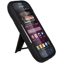 Load image into Gallery viewer, AMZER® Double Layer Hybrid Case with Kickstand - Black/ Black for Samsung Galaxy Prevail II SPH-M840