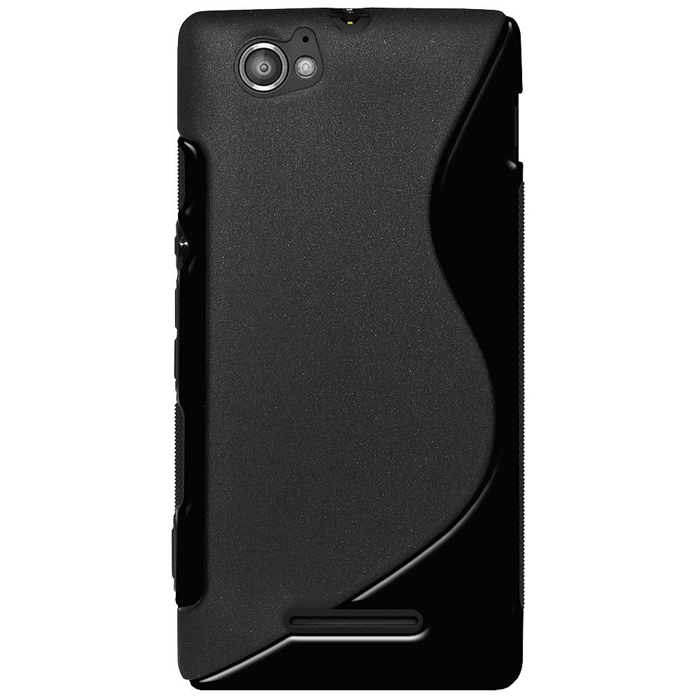AMZER TPU Hybrid Case - Solid Black for Sony Xperia M