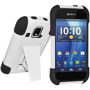 AMZER® Double Layer Hybrid Case with Kickstand - Black/ White for Kyocera Hydro XTRM
