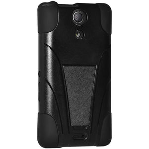 AMZER Double Layer Hybrid Case with Kickstand - Black/ Black for Sony Xperia A