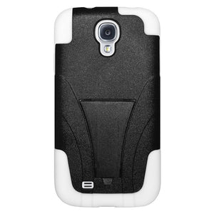 AMZER Double Layer Hybrid Case with Kickstand - Black/ White for Samsung GALAXY S4 GT-I9500