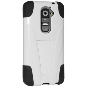 Amzer Double Layer Hybrid Case with Kickstand - Black/ White for LG G2 D802