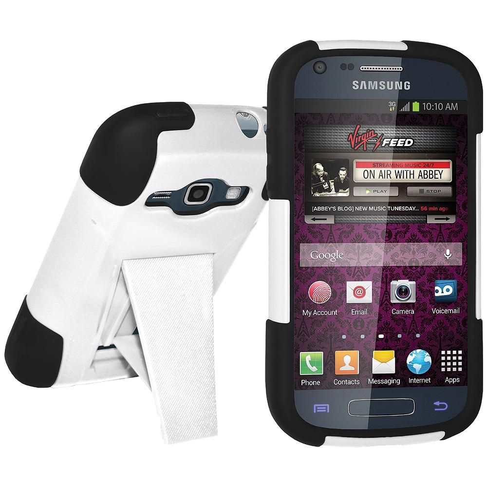 AMZER® Double Layer Hybrid Case with Kickstand - Black/ White for Samsung Galaxy Prevail II SPH-M840