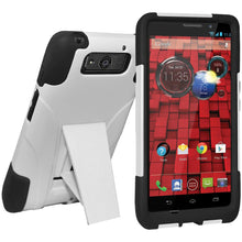 Load image into Gallery viewer, AMZER® Double Layer Hybrid Case with Kickstand - Black/ White for Motorola DROID Ultra XT1080