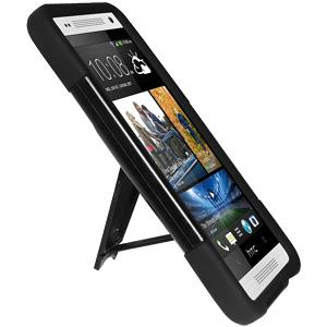 AMZER Double Layer Hybrid Case with Kickstand - Black/ Black for HTC M4