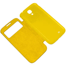 Load image into Gallery viewer, Amzer Flip Case with Swipe Window Yellow for Samsung Galaxy S4 GT-I9505 GT-I9500