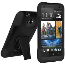 Load image into Gallery viewer, AMZER Double Layer Hybrid Case with Kickstand - Black/ Black for HTC Desire 601