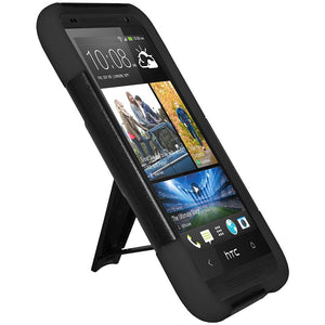 AMZER Double Layer Hybrid Case with Kickstand - Black/ Black for HTC Desire 601