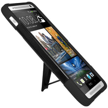 Load image into Gallery viewer, AMZER Double Layer Hybrid Case with Kickstand - Black/ Black for HTC One Max