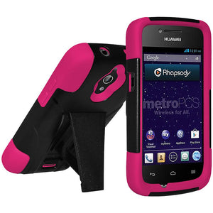 AMZER® Double Layer Hybrid Case with Kickstand - Black/ Hot Pink for Huawei H882L