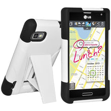 Load image into Gallery viewer, AMZER® Double Layer Hybrid Case with Kickstand - Black/ White for LG Optimus F3 MS659