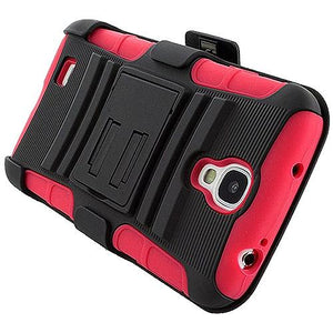 Premium Hybrid Double Layer Armor Case with Holster - Black/ Red for Samsung GALAXY S4 GT-I9500