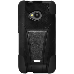 AMZER Double Layer Hybrid Case with Kickstand - Black/ Black for HTC One M7
